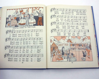 Songs and Pictures Vintage 1930s Children's School Song Book of Music by American Book Co.