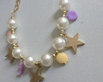 HELLO beach babe pearls & stars charm ocean shell seahorse starfish sea mermaid life marine pastel beaded necklace pendant