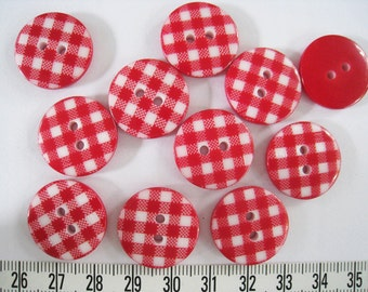 20pcs of  Gingham Button - Red and White - 20mm