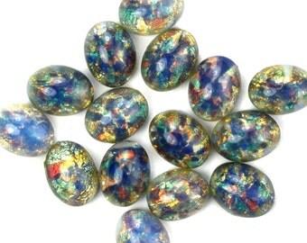 Glass Cabochons Czech 8x6mm Blue Opal (2) GC092