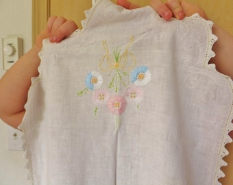 Vintage 1920's Embroidered Linen Table Cloth Runner Cottage Chic Decor Pastel Linens Floral Embroidery Lace Trim Sewing Ephemera