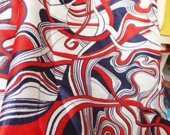 Vintage 1960's Rayon Fabric Red White and Blue Fabric Mid Century Retro Fabric Psychedelic Fabric Silky Rayon Fabric