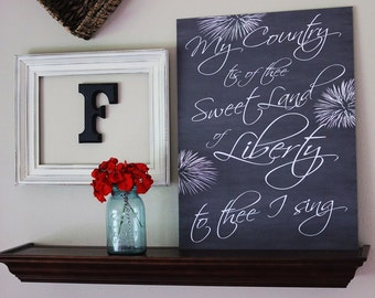 American Pride 4th of July Chalkboard Style Sign Board - 2 sizes