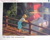 Super Sale VINTAGE 1950s 1960s Paul Detefsen Art Print, Good Old Summertime, Calender Artist Boy Fishing from Bridge Red Barn