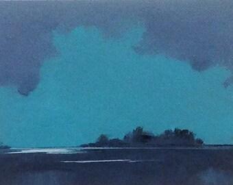 DEEP DUSK, oil painting landscape original oil, 100% charity donation, original painting  5x7 canvas panel, clouds, ocean