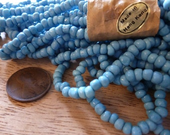 50 Vintage Turquoise Nugget Glass Beads C31