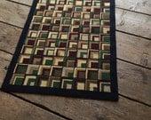 Hooked Rug Amish Square Pattern Area Rug Vintage