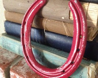 Retro Red Horseshoe Rustic and Rusty Cowgirl repurposed Good Luck Yee Ha Upcycle