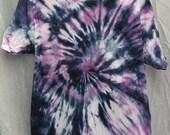 Tie Dye Shirt - Large Adult - Crew Neck - Short Sleeve - Dark Blue and Lavender - 100% Cotton