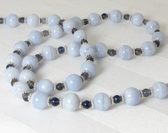 Blue Lace Agate, Iolite, and Sterling Silver Necklace