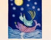 etching, Moon River, baby art, water, blue, fish, bird, mouse, moon, stars, aquatint etching, printmaking, childrens art, nursery decoration