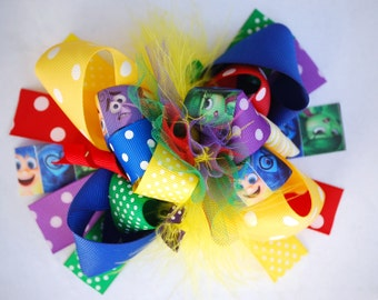 boutique FUNKY fun INSIDE OUT emotions hair bow clip