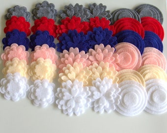 Super Pack - 132 Die Cut Felt Flowers and Circles , Felt Die Cut.