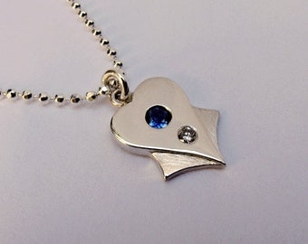 Silver Heart Necklace - Sapphire and Diamond - Ready to Ship