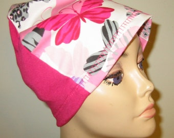 FREE SHIP USA Bright Butterfly Print  Hat, Cancer Cap, Alopecia, Sleep Cap,  Chemo Hat