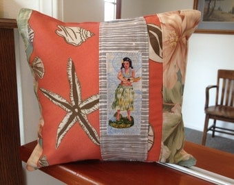 "Hula Girl with Beach Seashells and Tropical Floral print pillow 12 "" X 12"""