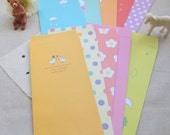 Paper envelopes / pockets - 10pcs with 10 different colors and 10 different styles in rectangular shape (Package treasury)