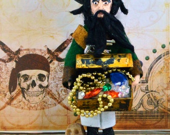 Blackbeard the Pirate Doll Historical Art Miniature by Uneek Doll Designs