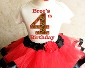 Red Cheetah Print Spots Animal 4th Fourth Girl Birthday Tutu Outfit Custom Personalized Name Age Party Shirt Set