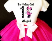 Minnie Mouse Black White Polka dotted & Hot Pink 1st First Girl Birthday Tutu Outfit Custom Personalized Name Age Party Shirt Set