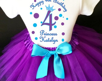 Princess Crown Purple Bright Blue Polka dotted dots 4th Girl Birthday Tutu Outfit Custom Personalized Name Age Party Shirt Set