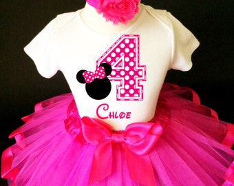 Hot Pink Minnie Mouse White Polka dots dotted 4th Number 4 Girl Birthday Tutu Outfit Custom Personalized Name Age Party Shirt Set