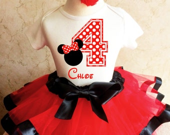 Minnie Mouse Red Black White Polka Dots Dotted 4th Number 4 Girl Birthday Tutu Outfit Custom Personalized Name Age Party Shirt Set