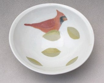Porcelain Bowl with Inlay of Cardinal and Leaves--1 of 3