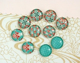 10pcs handmade assorted teal pattern round glass dome cabochons / Wooden earring stud  12mm (12-0415)