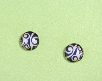 Sale - 10 pcs handmade glass cabochons 12mm (12-0541)