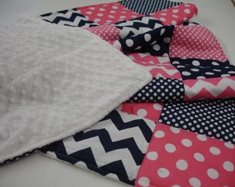 Hot Pink Navy Chevrons Dots Minky Comforter Blanket You Choose Size and Minky Color MADE TO ORDER