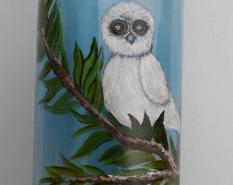 Painted Owl Vase Hand Painted Owl Glass Vase