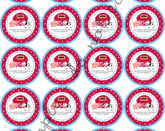"INSTANT DOWNLOAD / Farm Theme Cow Horse 2"" printable Party Circles / Cupcake Topper / Stickers / Thank You Tags"