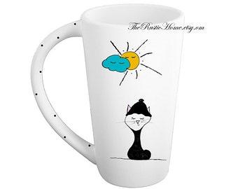 Sweater kitty mug pottery coffee mug tea latte tall mug 16 ounces made to order