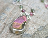 Pink Tourmaline and Titanium Druzy Pendant Sterling Silver, Crystal Geode Necklace