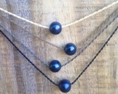 deep blue pearl padre polynesian roping necklace / waterproof / everyday and anywhere / minimalist beauty / tula blue