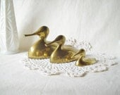 Brass Duck Figurines Set of 3 Vintage Decor