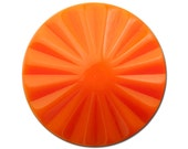Vintage Orange Ribbed Acrylic Cabochons 30mm (2) cab830B