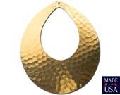 1 Hole Hammered Raw Brass Teardrop Pendant Drops 61x52mm (2) mtl475A