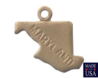 Raw Brass Tiny Maryland State Charm Drops (6) chr201GG