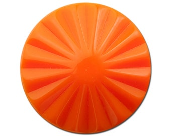 Vintage Orange Ribbed Acrylic Cabochons 30mm (2) cab830B