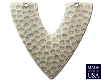 2 Hole Sterling Silver Ox Hammered V Connector Pendant (4) mtl459C
