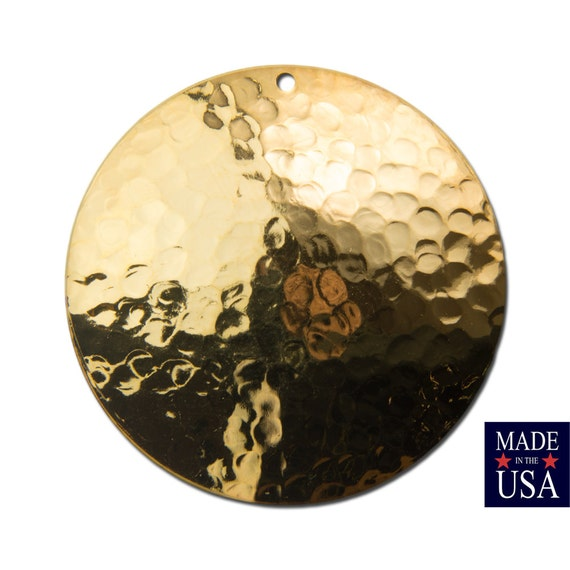 Gold Plated Hammered Dapped Domed Circle Pendant 35mm (4) mtl101C