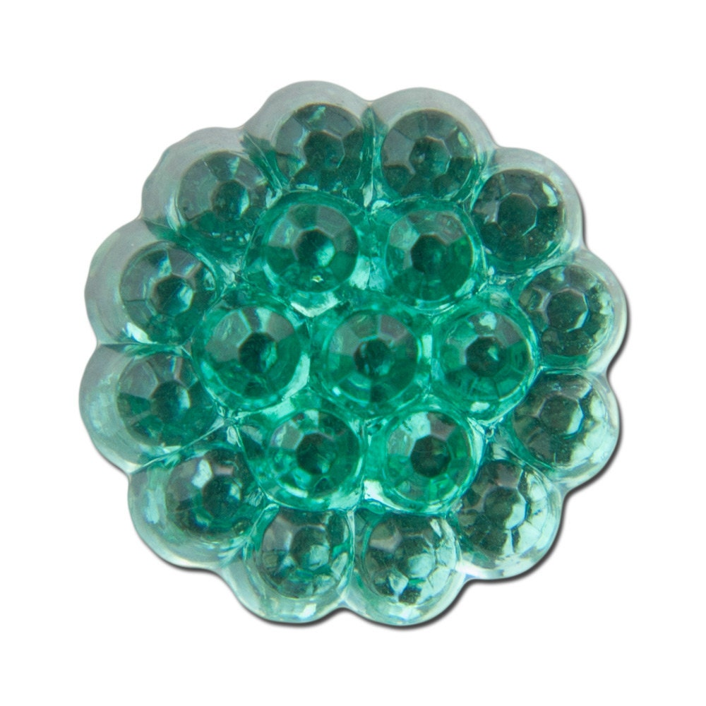 Bumpy Top Scalloped Edge Emerald Green Glass Cabochons