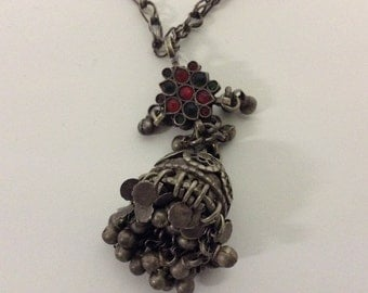 Vintage raw tarnished dingle ball necklace