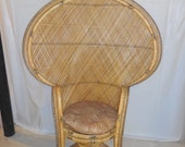 Princess Fan Rattan/Bamboo Chair Huge  RESERVED For Zarah