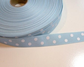 Blue Ribbon, Light Blue and White Polka Dot Grosgrain Ribbon 7/8 inch wide x 5 yards