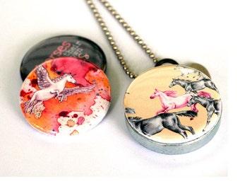 Pegacorn Locket Necklace | Stampeding Horse Art Jewelry | Magnetic 3 Lid Set | Recycled Steel Locket | Mythical | Polarity & Tamara Garvey