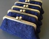 Navy Blue Vintage Cotton Lace Clutch