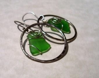 Sea Glass Earrings -Green Seaglass Oxidized German Silver Circle -Beach Glass Hoop Jewelry